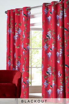Embroidered Effect Bright Birds Blackout Eyelet Curtains