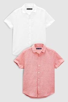 Twee overhemden van linnenmix (3-16 jr)