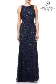 Adrianna Papell Blue Halter Crunchy Beaded Gown