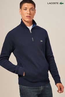 Lacoste® Navy Blue Quarter Zip Knit Jumper