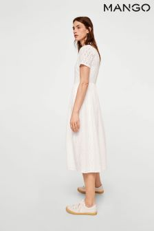 Mango White Broidered Dress