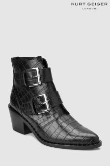 Kurt Geiger London Black Croc Leather Buckle Western Boot