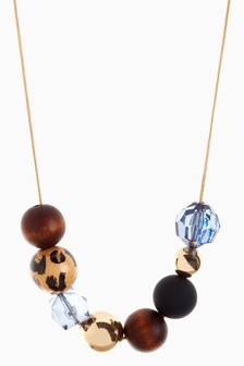 Animal Print Ball Rope Necklace