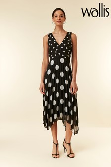 Wallis Black Spot Pleat Midi Dress
