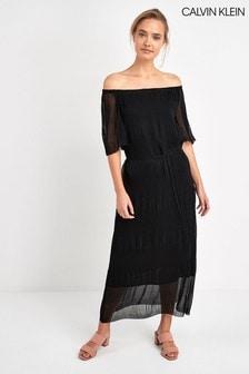 Calvin Klein Black Pleated Long Prairie Dress