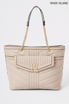 River Island Light Pink Quilted Tote
