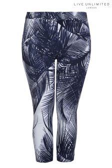 Live Unlimited Mono Palm Print Capri Trouser