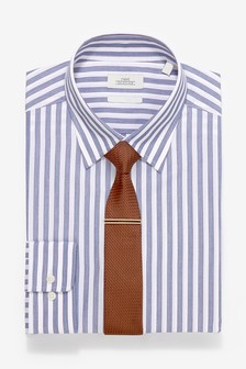 Slim Single Cuff Striped Shirt Tie And Tie Clip Set