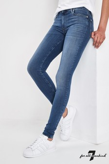 7 For All Mankind Mid Blue Skinny High Waist Jean