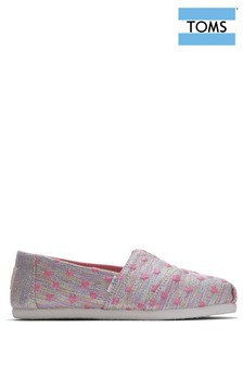 TOMS Youth Pink Multi Heartsy Twill Glimmer Espadrilles