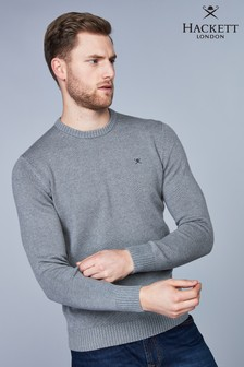 Hackett Grey Cotton Crew Logo Jumper