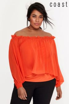 Coast Orange Setri Beaded Bardot Top