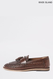 River Island Brown Woven Leather Shoe