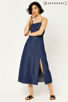 Warehouse Dark Wash Strappy Split Front Dress