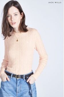 Jack Wills Pink Tinsbury Classic Cable Crew