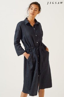 Jigsaw Blue Linen Shirt Dress