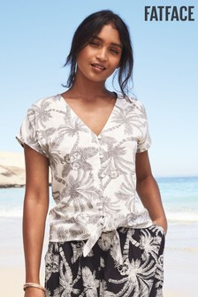 FatFace Natural Kitty Mono Palm Tie Front Top