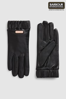 Barbour® International Black Latch Leather Gloves
