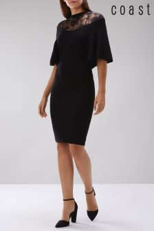 Coast Black Remy Lace Trim Knit Dress