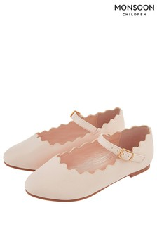 Monsoon Pale Pink Quinn Scallop Ballerina