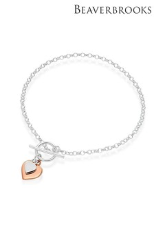 Beaverbrooks Silver And Rose Gold Plated Silver Heart T-Bar Bracelet