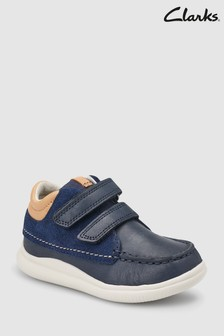 Clarks Toddler Navy Combi Leather Cloud Tuktu Shoe