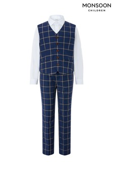 Monsoon Blue Dustin 3 Piece Waistcoat Set