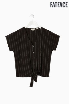 FatFace Black Kitty Stripe Tie Front Top