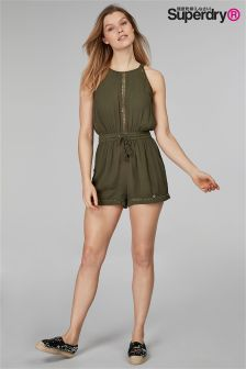 Superdry High Neck Khaki Playsuit
