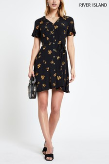 River Island Black Button Through Tea Dress