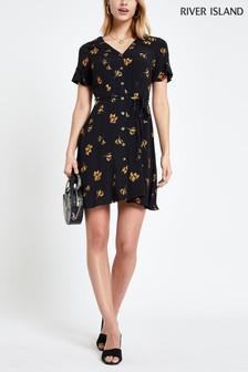 e5414413714 River Island Black Button Through Tea Dress