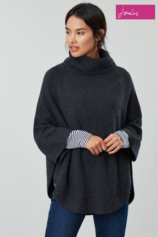 Joules Grey Pria Knitted Poncho