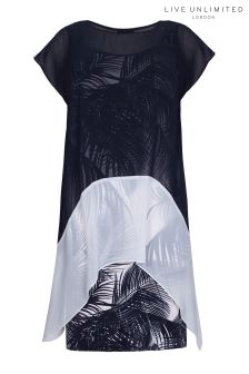 Live Unlimited Mono Palm Print Cocoon Dress