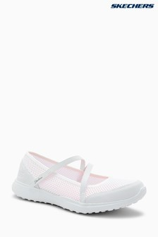Skechers® White Micro Burst Open White Mesh Mary Jane