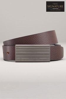 Reversible Leather Grain Plaque Belt