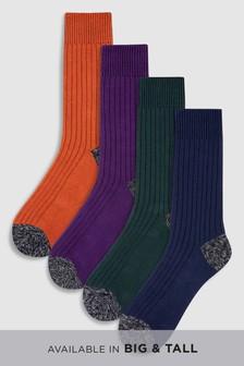 Colour Rib Heavyweight Socks Four Pack