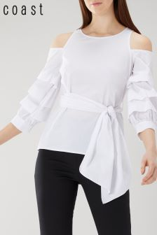 Coast White Jude Cotton Top With Black Tipping