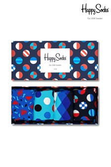 Happy Socks Navy Socks Four Pack Gift Box