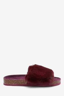 Cork Faux Fur Sliders