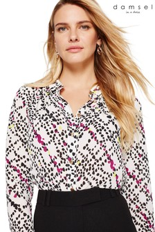 Damsel In A Dress White Marin Animal Check Print Blouse