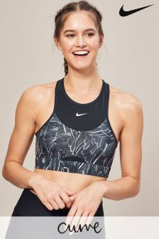 Nike Swoosh Feather Curve Grey Medium Support Sports Bra