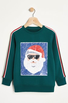 Santa Sequin Change Crew Neck Sweater (3-12yrs)
