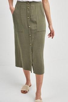 Utility Pocket Button Midi Skirt