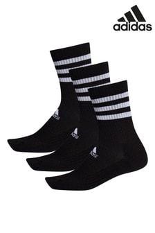 adidas Adult Black 3 Stripe Crew Socks Three Pack