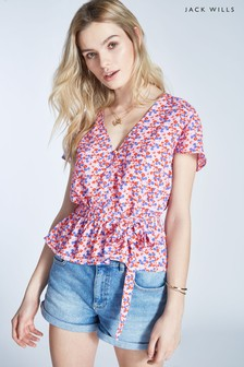 Jack Wills Lilac Chirbury Frill Sleeve Top