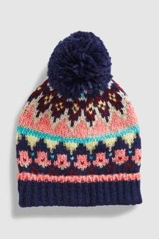Fairisle Pattern Pom Hat