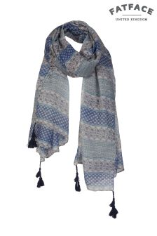 FatFace Blue Emma Patchwork Scarf