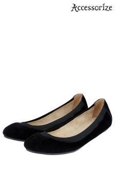 Accessorize Black Elasticated Suede Ballerina