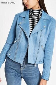 River Island Blue Suedette Biker Jacket