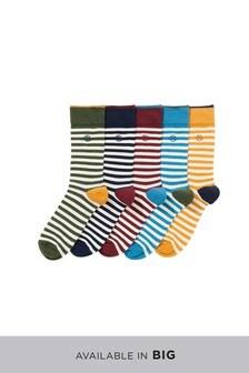Komplet petih črtastih parov nogavic
